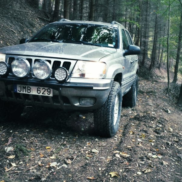 Jeep WJ in the forest, Front, Black and White