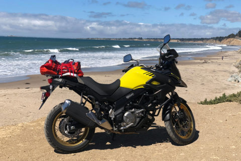 Suzuki V-Strom 650xt 2018 at the California coast